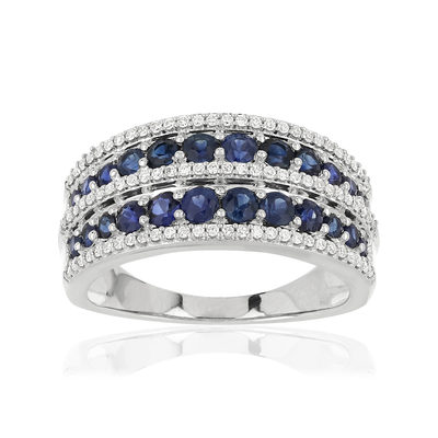Bague MATY Or 750 blanc Saphirs et Diamants - vue V1