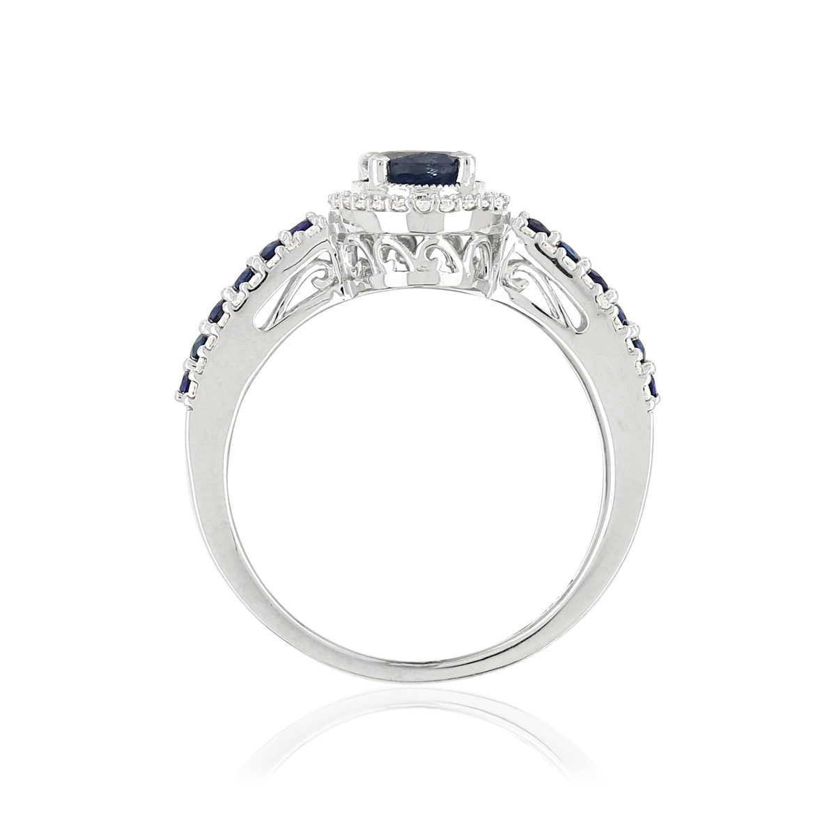 Bague MATY Or 750 blanc Saphirs et Diamants - vue 2