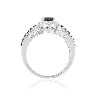Bague MATY Or 750 blanc Saphirs et Diamants - vue V2