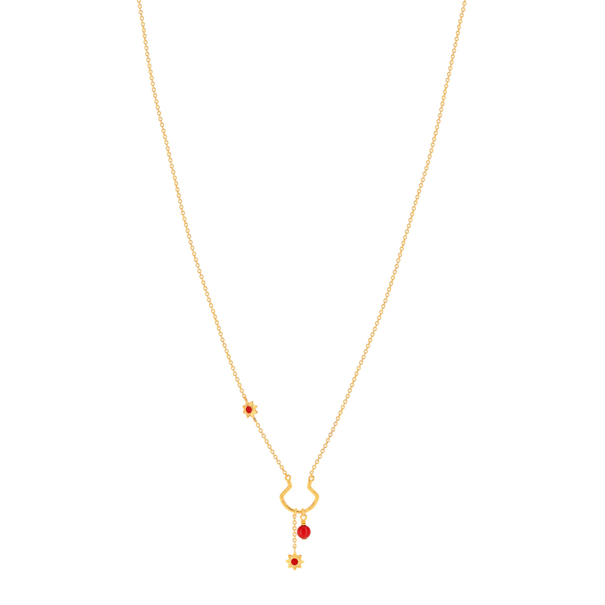 Collier MATY Or 375 jaune corail imitation 45 cm - vue 1