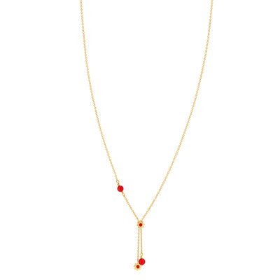 Collier MATY Or 375 jaune corail imitation 45 cm - vue V1