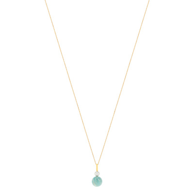 Collier MATY Or 375 jaune amazonite perle 45 cm - vue V1