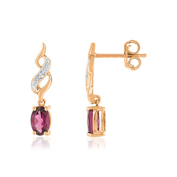 Boucles d'oreilles MATY Or 375 rose Diamants et Grenats rhodolites pourpres
