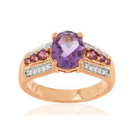 Bague MATY Or 375 2tons Diamants Amethystes Grenat