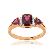 Bague MATY Or 375 rose Diamants et Grenats rhodolites