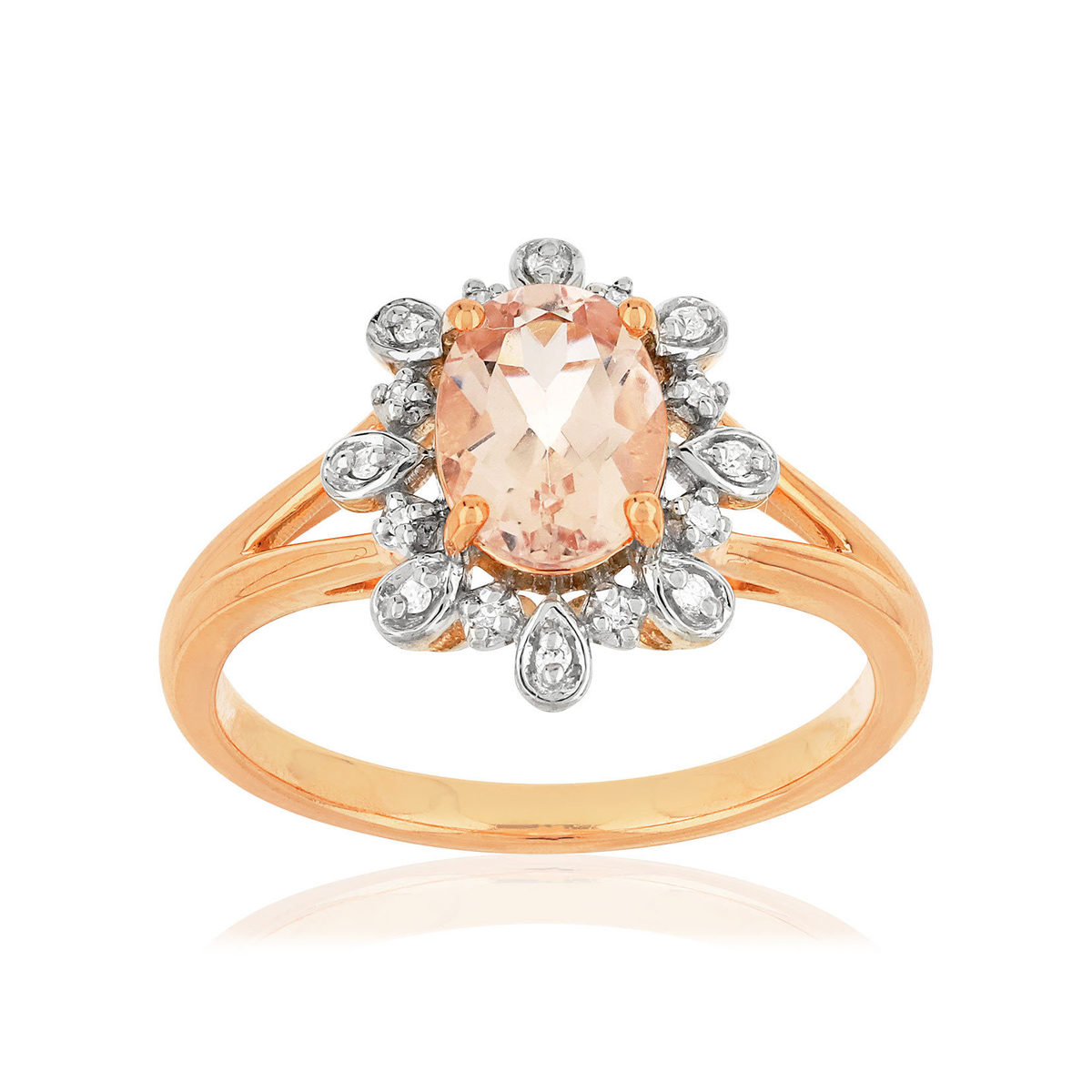 Bague MATY Or 375 2 tons Diamants et Morganite - vue V1