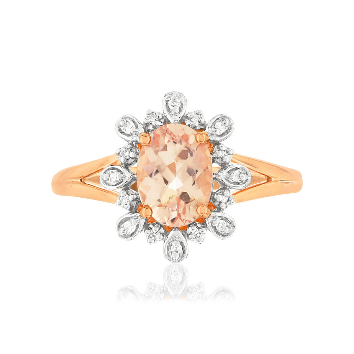 Bague MATY Or 375 2 tons Diamants et Morganite - vue V3
