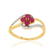 Bague MATY Or 375 2 tons Rubis et Diamants