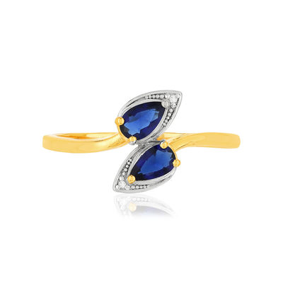 Bague MATY Or 375 jaune Saphirs et Diamants - vue V3