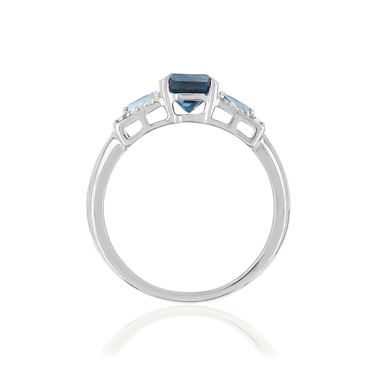 Bague MATY Or 375 blanc Topazes Diamants - vue V2