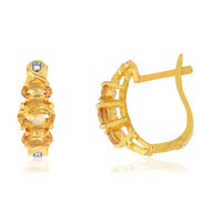 Boucles d'oreilles MATY Or 375 Citrines et Diamants