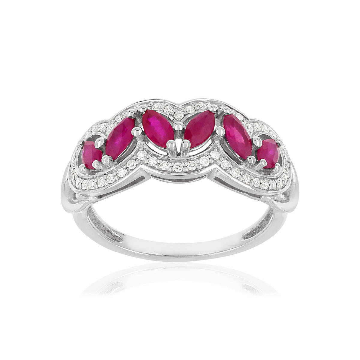 Bague MATY Or 750 blanc Rubis et Diamants - vue V1