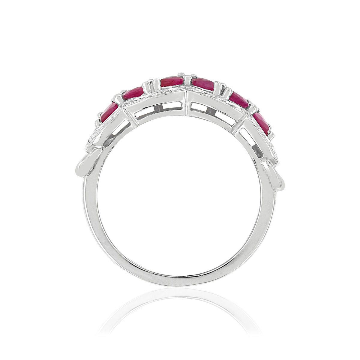 Bague MATY Or 750 blanc Rubis et Diamants - vue V2