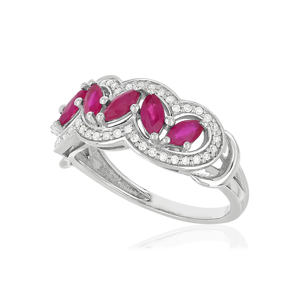 Bague MATY Or 750 blanc Rubis et Diamants - vue VD1