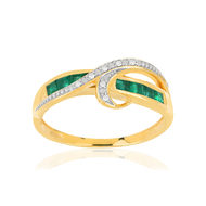 Bague MATY Or 750 jaune Emeraudes et Diamants