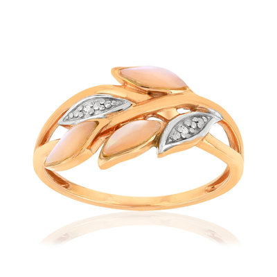 Bague MATY Or 375 rose Nacres Diamants - vue V1