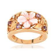 Bague MATY Or 375 rose Nacre rose et Diamants