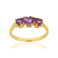 Bague MATY Or 375 jaune Améthystes et Diamants