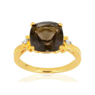 Bague MATY Or 375 jaune Quartz fumé noir et Diamants