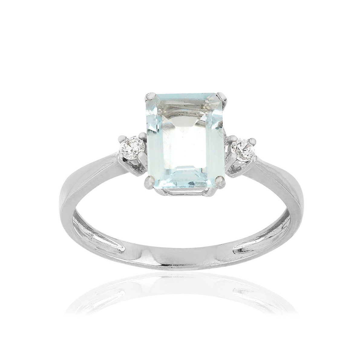 Bague MATY Or 375 blanc Aigue marine Zirconias - vue V1