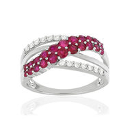 Bague MATY Or 750 blanc Rubis et Diamants