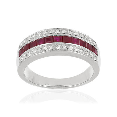 Bague or blanc 750 rubis diamants - vue V1