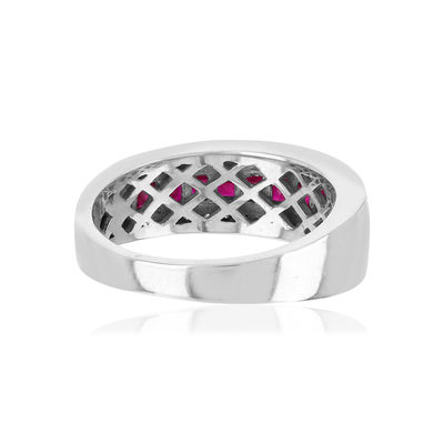 Bague or blanc 750 rubis diamants - vue VD1