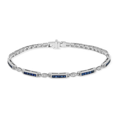 Bracelet or blanc 750 saphirs diamants 18 cm - vue V2