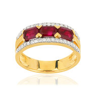 Bague or jaune 750 rubis diamants