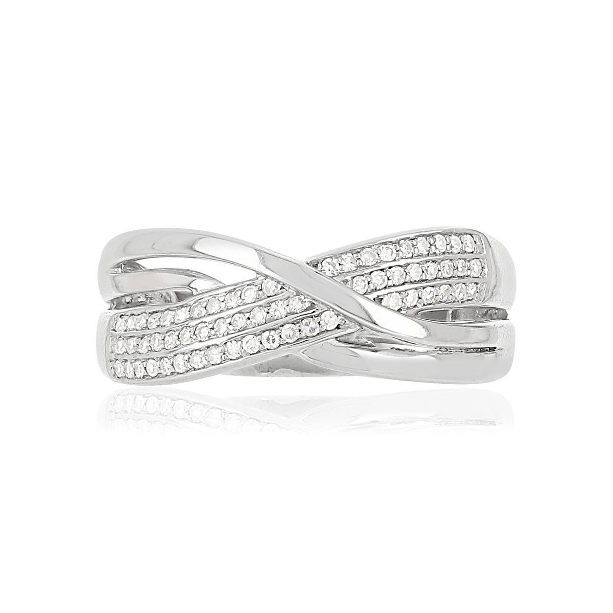 Bague MATY Or 375 blanc Diamants - vue V3