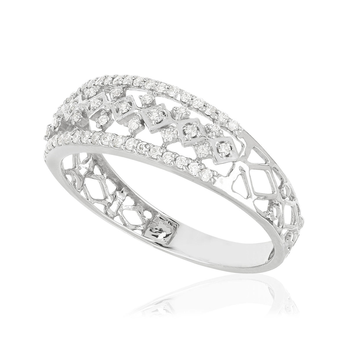 Bague MATY Or 375 blanc Diamants - vue VD1