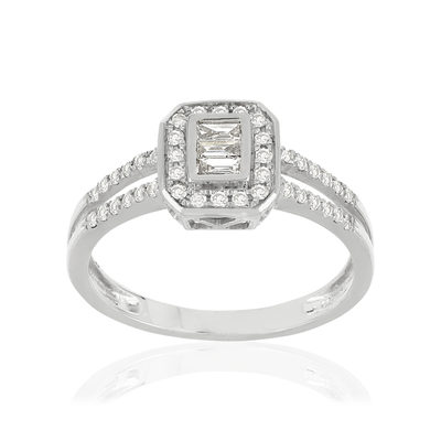 Bague MATY Or 750 blanc Diamants - vue V1