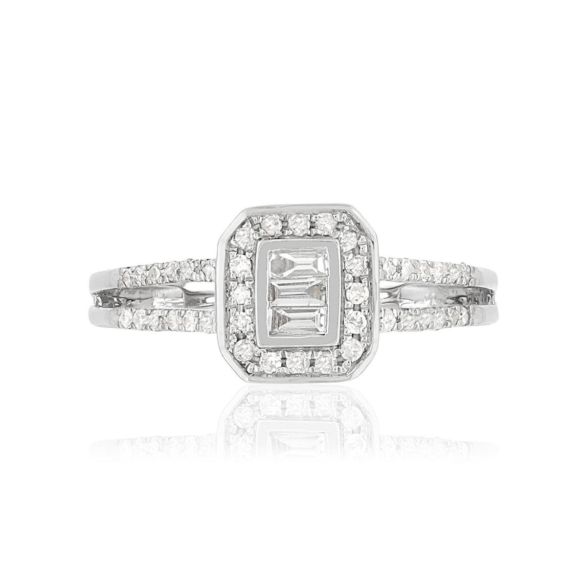 Bague MATY Or 750 blanc Diamants - vue 3