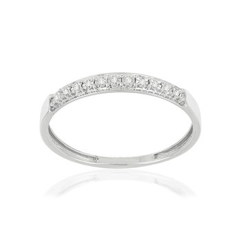 Bague or 375 blanc diamants