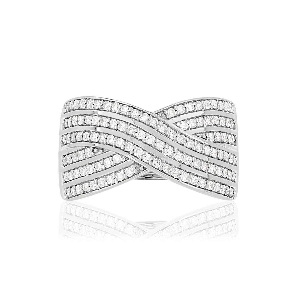Bague MATY Or 750 blanc diamants - vue V3