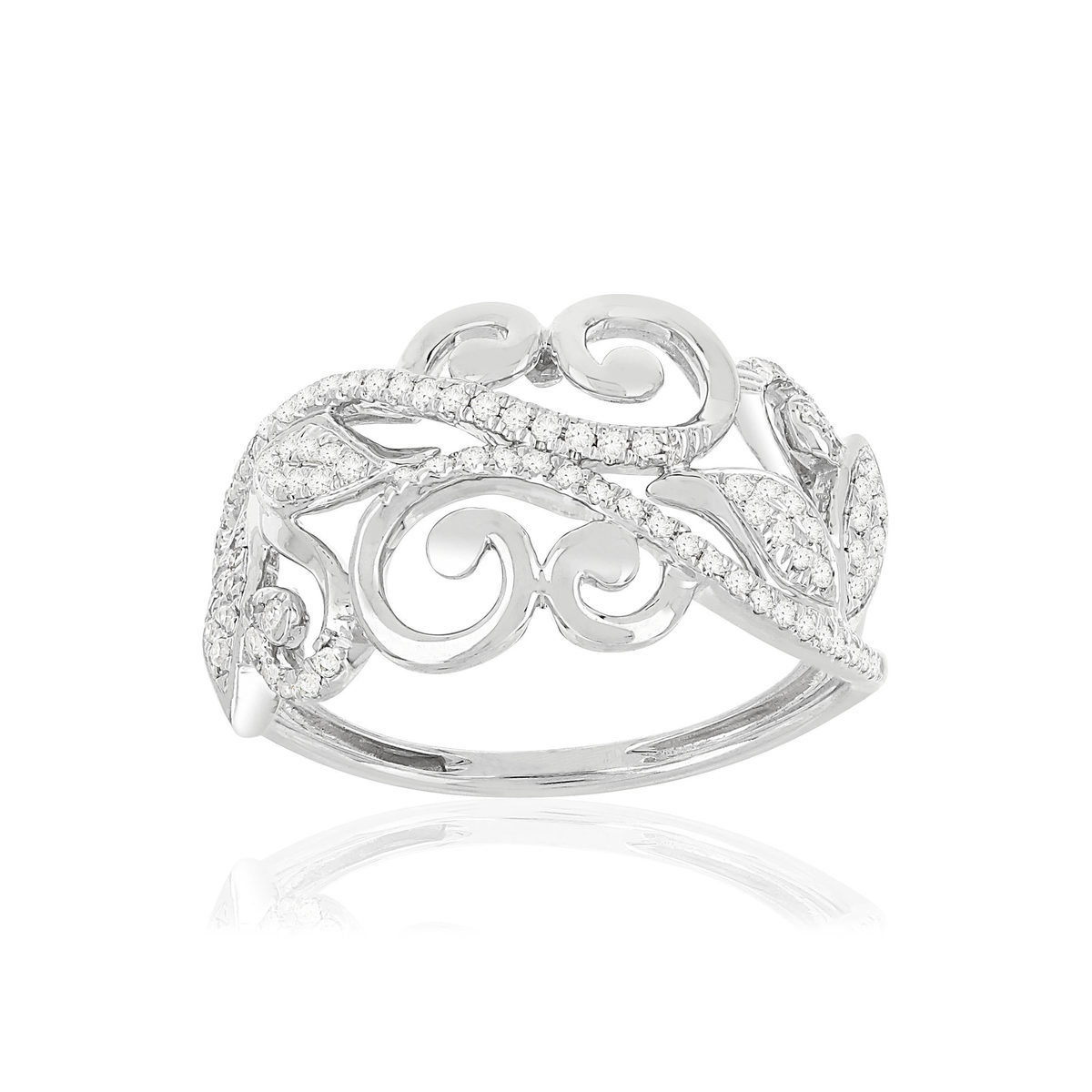 Bague MATY Or 375 blanc Diamants - vue V1