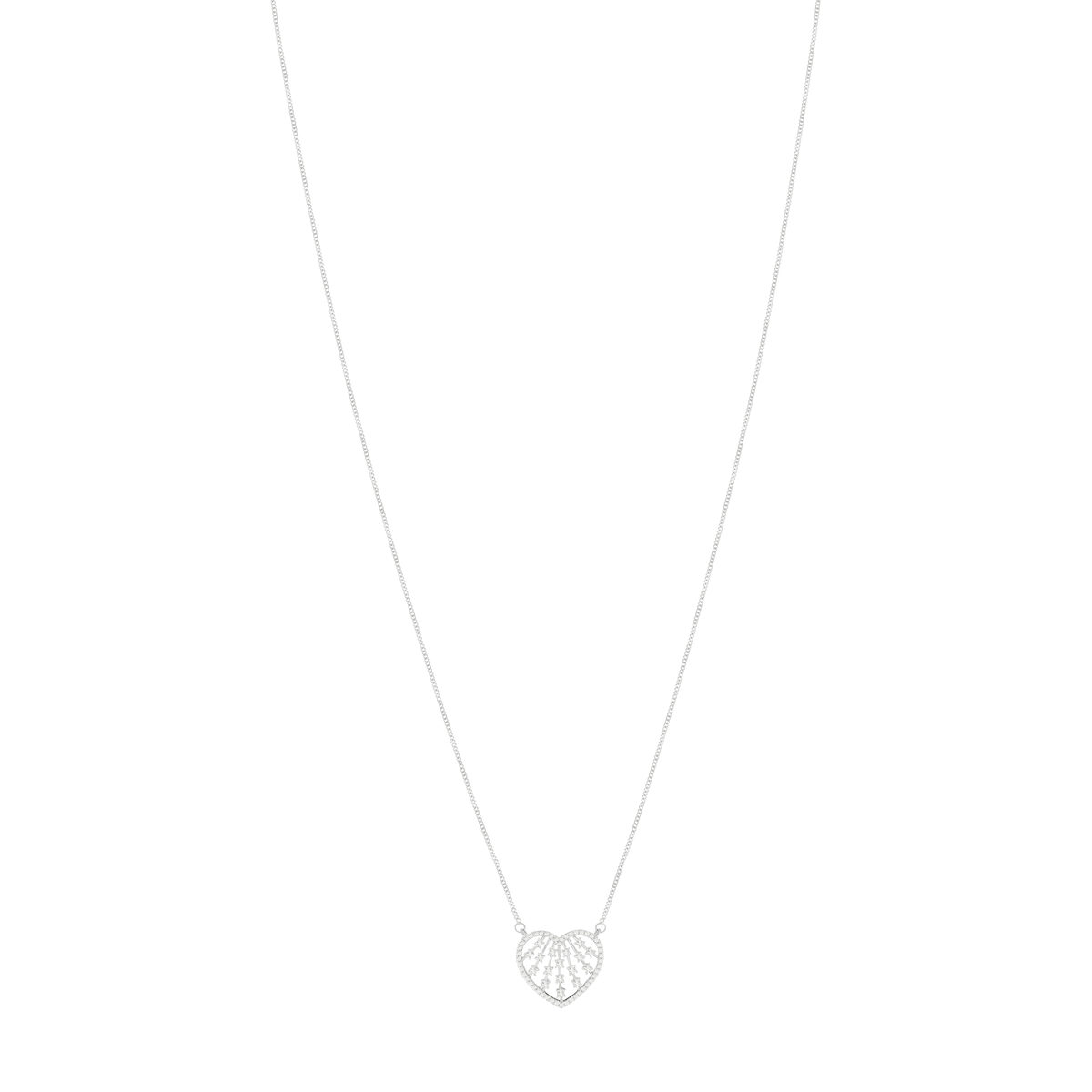 Collier MATY Or 750 blanc Diamants 45 cm - vue 1