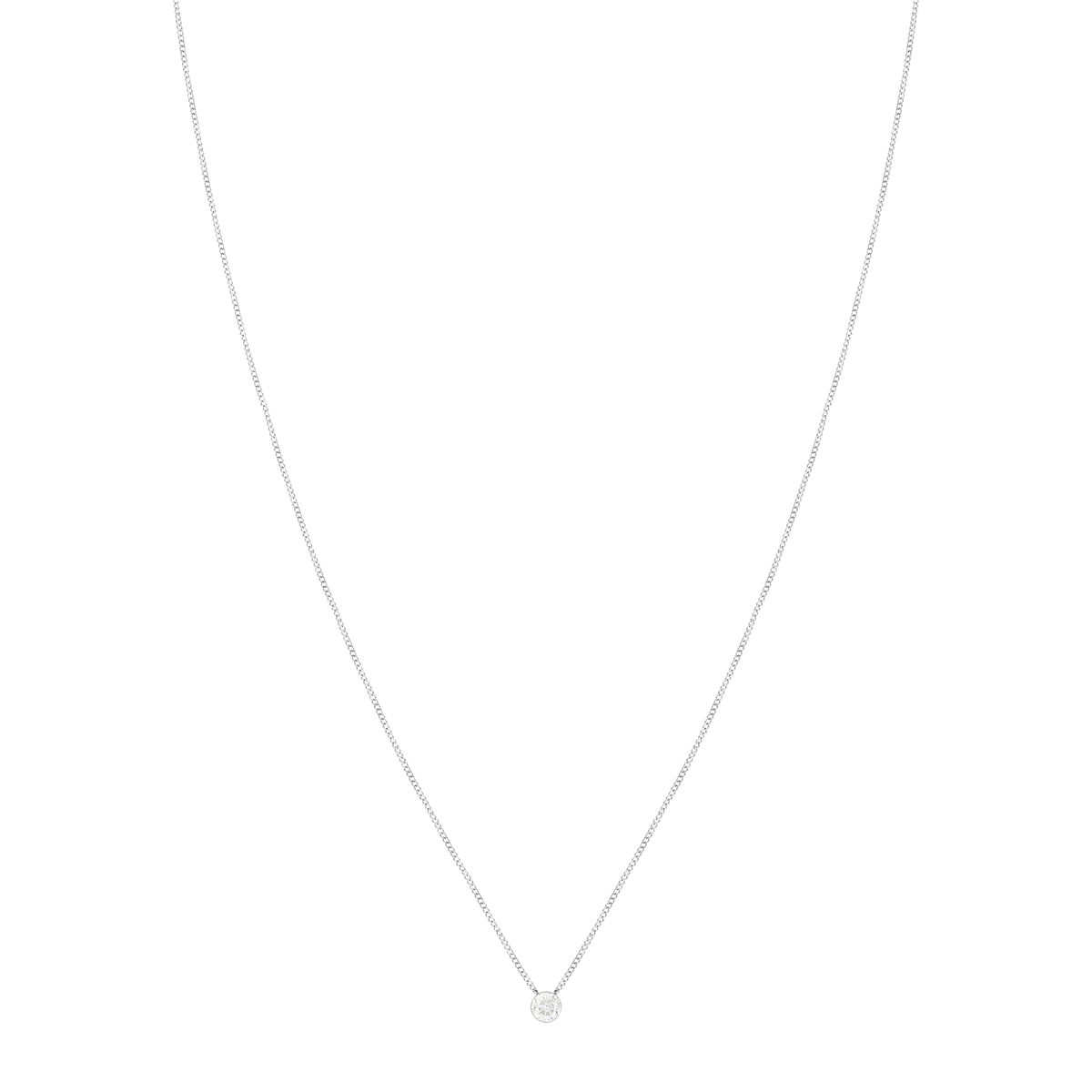 Collier MATY Or 375 blanc Diamant 45 cm - vue V1