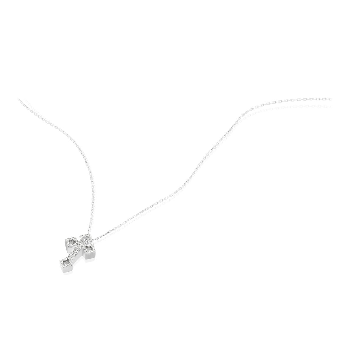 Collier MATY Or 375 blanc Diamants 42 cm - vue V4