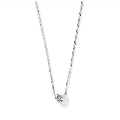 Collier or blanc 750 diamant - vue V1