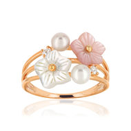 Bague MATY Or 375 rose nacres perles topazes