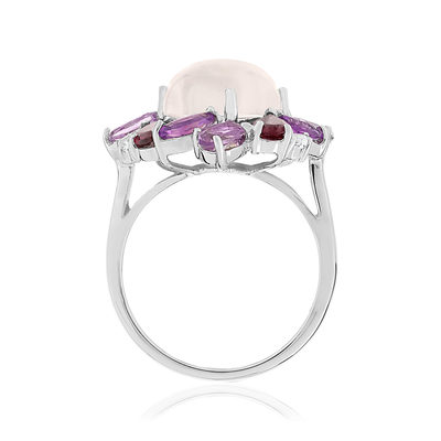 Bague MATY Or 750 blanc pierres fines - vue V2
