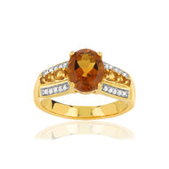 Bague MATY or 375 2 tons citrines diamants