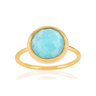 Bague or jaune 375 amazonite laque