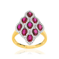 Bague 2 ors 750 rubis diamants