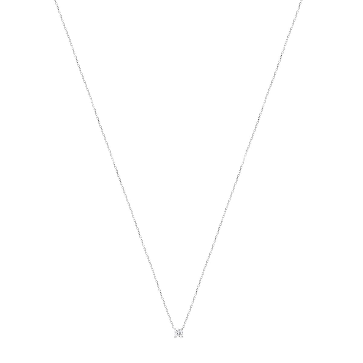 Collier or 750 blanc diamant synthétique - vue V1