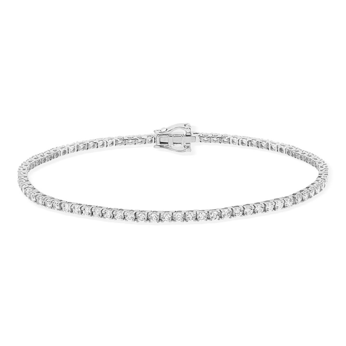Bracelet or 750 blanc diamant synthétique - vue 2