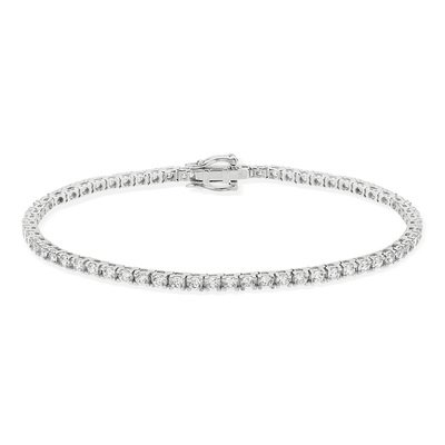 Bracelet or 750 blanc diamant synthétique - vue V2