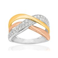 Bague 3 ors 750 diamant synthetique