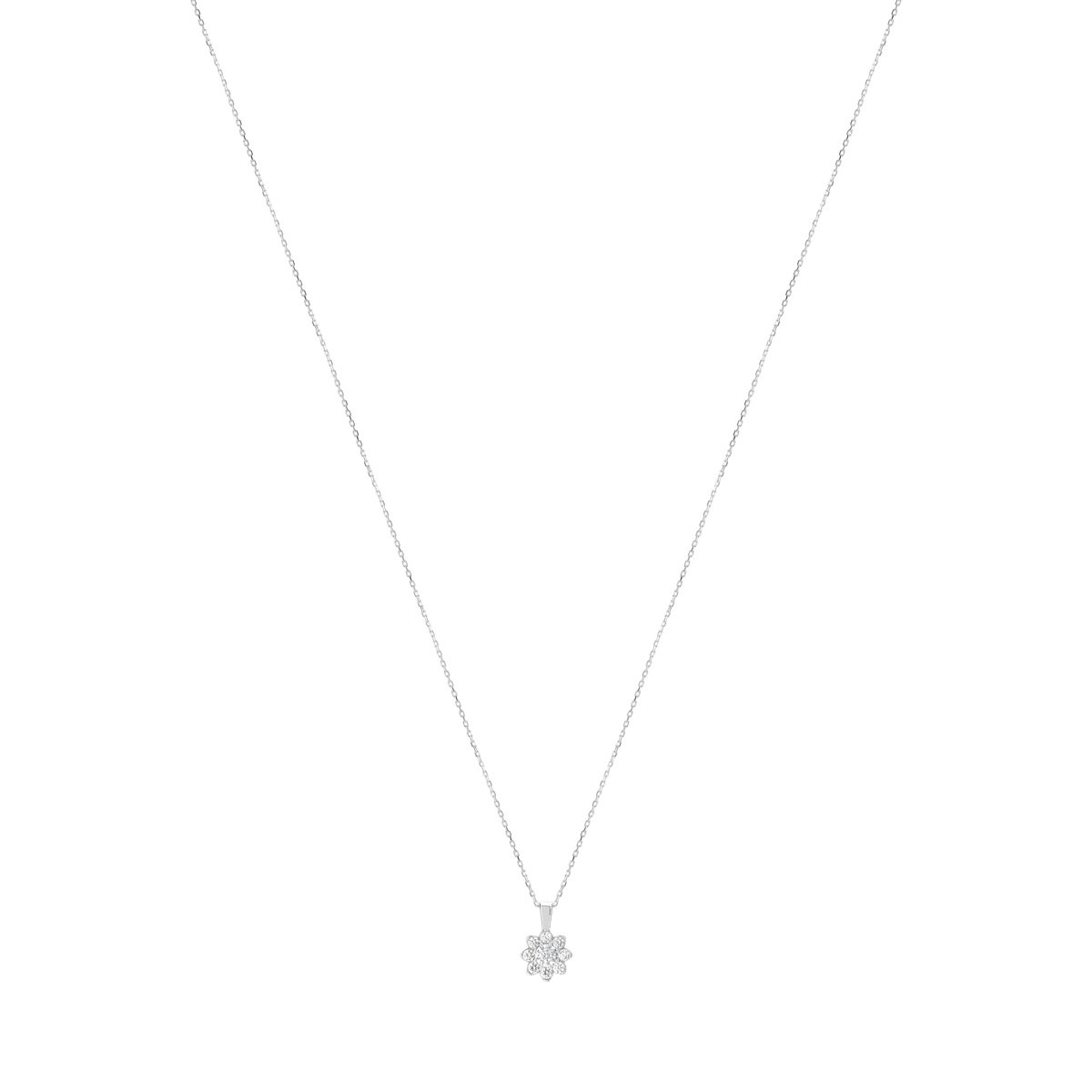 Collier or 750 blanc diamant synthétique - vue 1